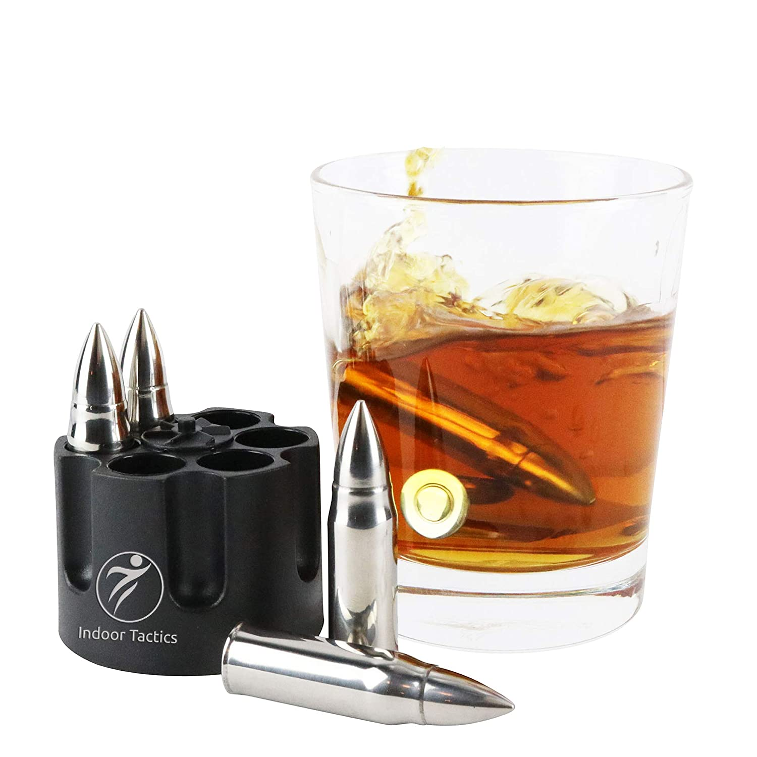 "WHISKEY BULLET STONES WITH BASE - XL, 2.5"" Original Extra Large Bullet-Shaped Whiskey Chillers, Unique Revolver Freezer Base, Set of 6, Gift for Whisky, Bourbon, Scotch Lovers, Groomsmen, Military"