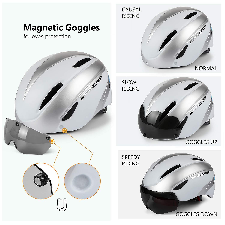 Casco Bici Adulti con Occhiali magnetici Staccabili Visiera Shield for Men Women Casco da Bicicletta Mountain /& Road Regolabile Protezione Ski /& Snowboard Casco Bici,Certificato CE