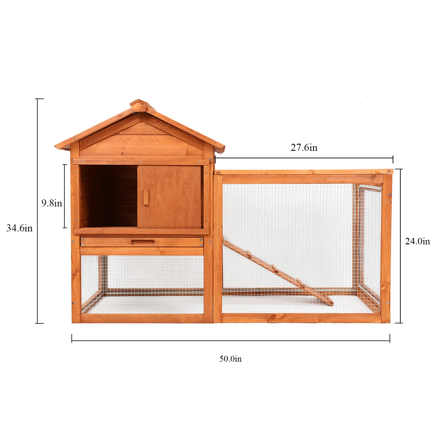 Magshion Wooden Chicken Coop Rabbit Bunny Hutch Pet Cage Wood Small Animal Poultry Cage Run Indoor by Magshion (Image #2)
