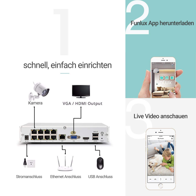 funlux HDMI de 4 Canales NVR SPOE 720P Red de Vigilancia 4 Cámara de Seguridad Exterior MK-209 para Exterior/Interior: Amazon.es: Bricolaje y herramientas