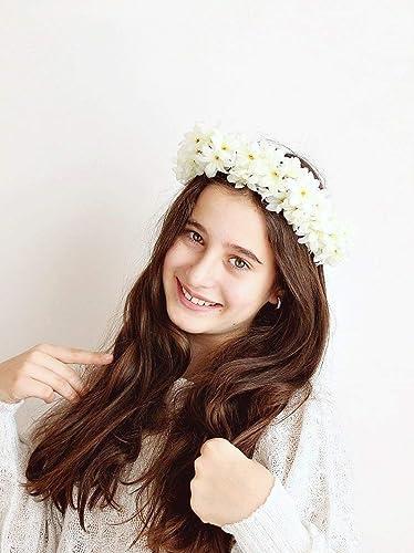 Amazon Com Cream Flower Crown Boho Bridal Halo Handmade