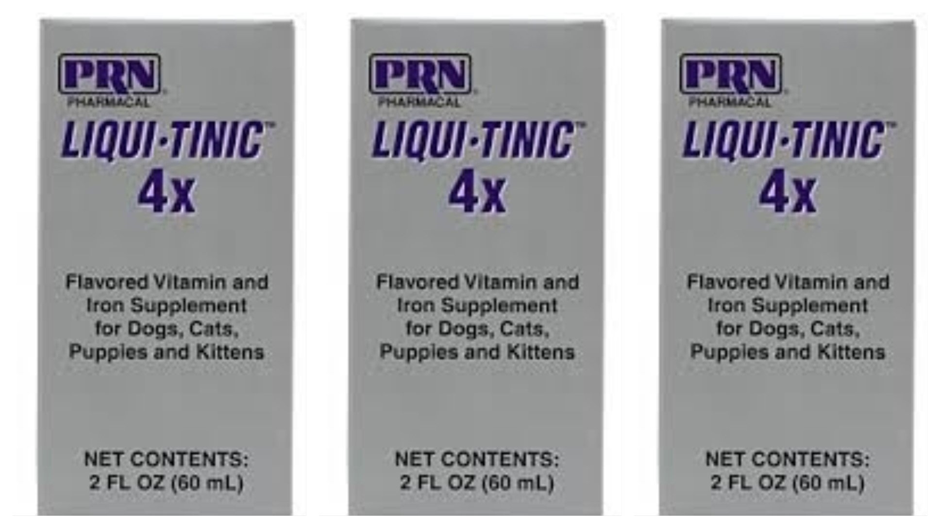 LIQUI-TINIC 4X Prn Pharmacal Flavored Vitamin and Iron Supplement for Dogs, Cats, Puppies and Kittens,- 2 FL OZ (60 mL) Each - 3 PACK