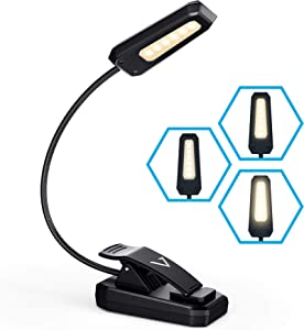 Vont Book Light, Reading Light, Rechargeable Book Light for Reading in Bed, (60 Hours) Eye Protection LEDs Reading Lamp, Clip On Light, Clamp Light, Bed Lamp, 3 Modes, Warm White Light (3000k)