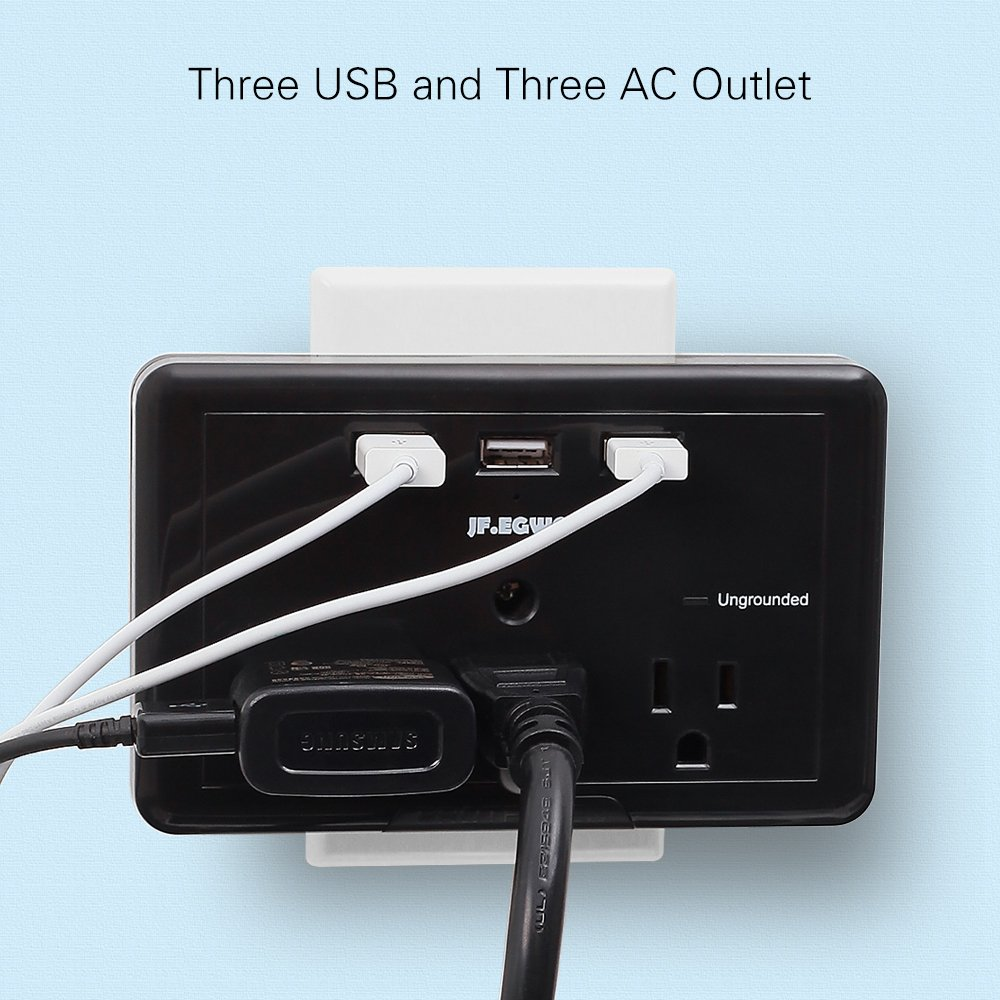 Wall Mount USB Multi Outlet Plug Adapter JF.EGWO USB Wall Plug Charging Stations 3.1 A 918 Joules USB Outlet Adapter White Wall Plug Surge Protector USB Multi Plug 3 Outlets 3 USB Ports