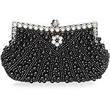 BMC Womens Faux Pearl Cascading Bead Rhinestone Evening Clutch Fashion Purse