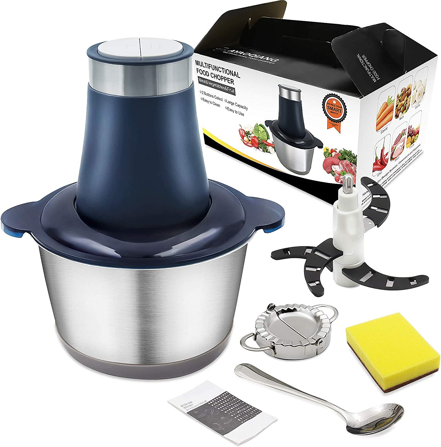2L Electric Meat Grinder 304 Stainless Steel Mini Chopper Fast & Slow 2-Speed Food Processor for Meat and Vegetables