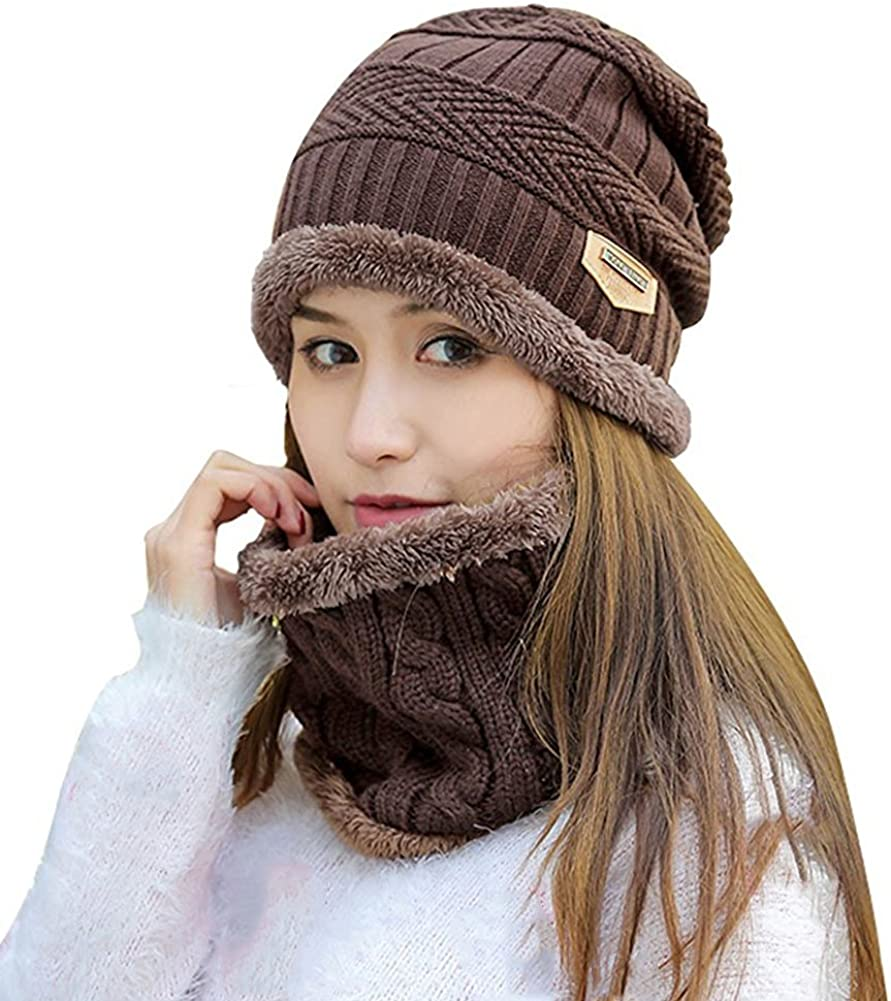 SYAYA Women Winter Warm Knit Hat Wool Snow Ski Caps with Visor DMZ01
