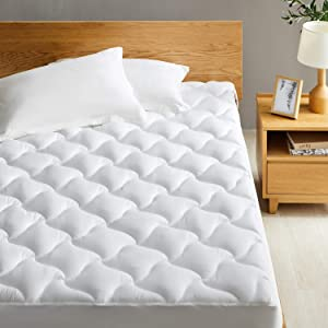 Western Home Mattress Pad Cover Queen Size, Thick Mattress Topper Pillow top with Soft Fluffy Down Alternative Fill, Breathable Quilted Fitted Mattress Cover with Deep Pocket(Up to 18 inches)