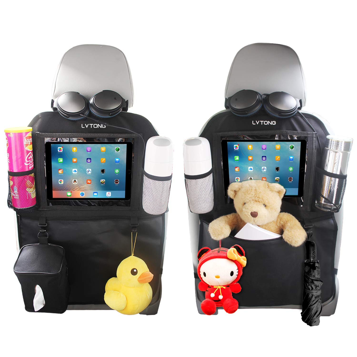 Kick Mats Car Back Seat Organizer 2 Pack Protector Covers XL Storage Bag Pocket with 1 Free Tissue Box 10'' iPad Tablet Holder Car Organizers for Kids Travel