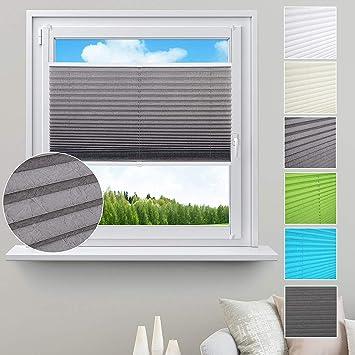 Plissee grau 85x100cm Plisee Jalousie Rollo Fenster Plisseerollo Faltrollo