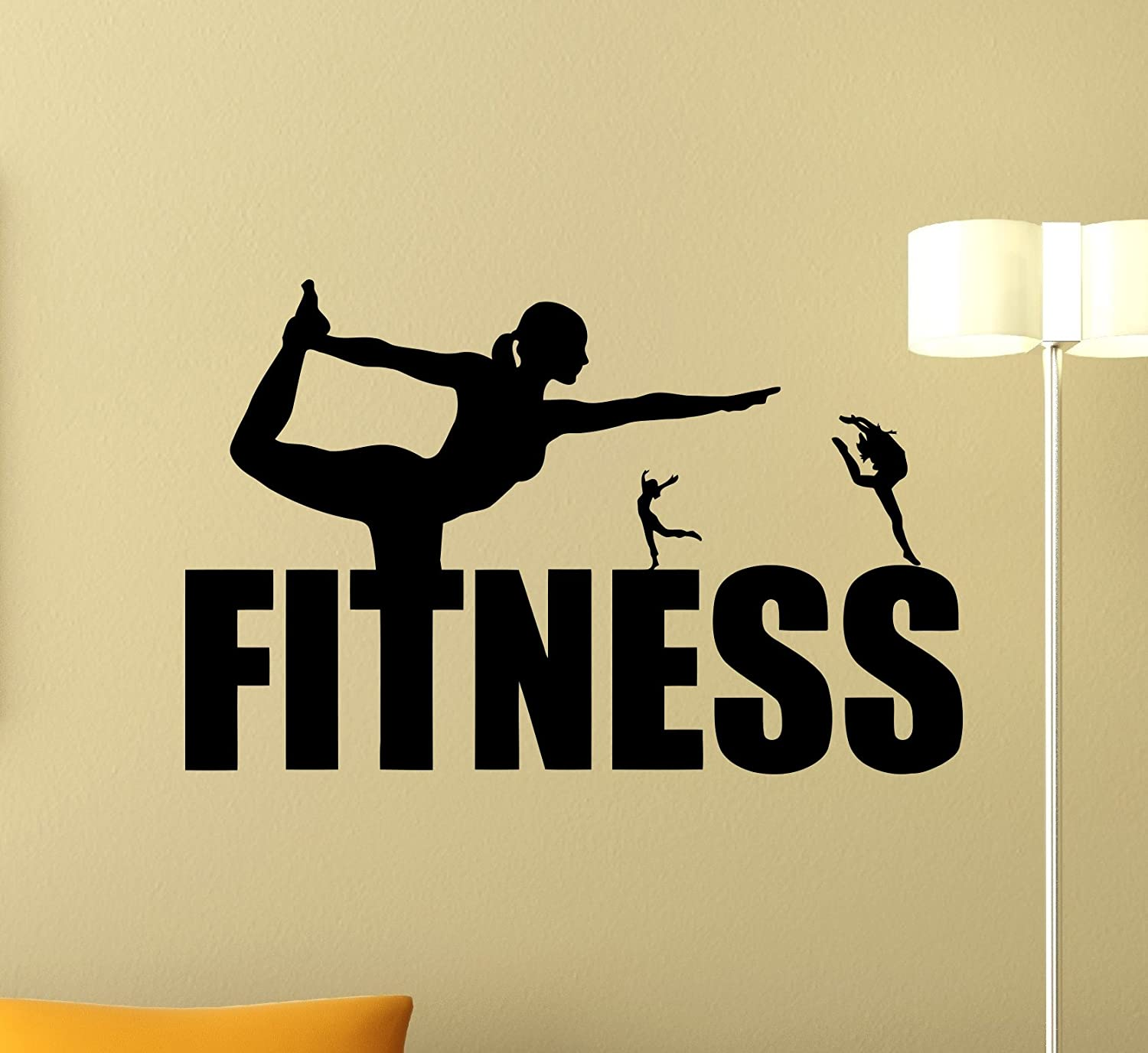 Fitness Logo Wall Decal Healthy Lifestyle Girl Gym Decor Fitness ...