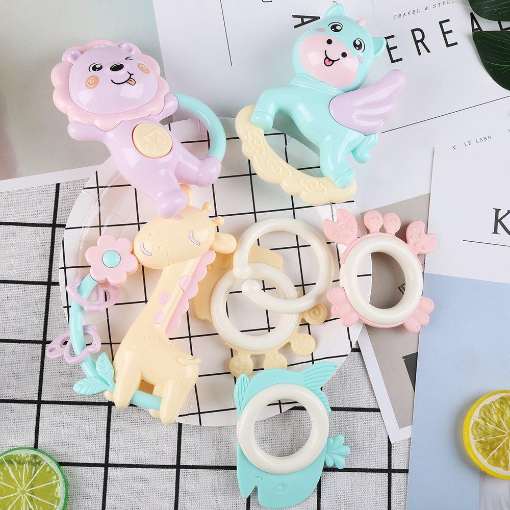 Sonajero Beb/é Mordedor Silicona Set 7 Juguete Infantil para Ni/ño Ni/ña Agarre para Reci/én Nacido Colorido