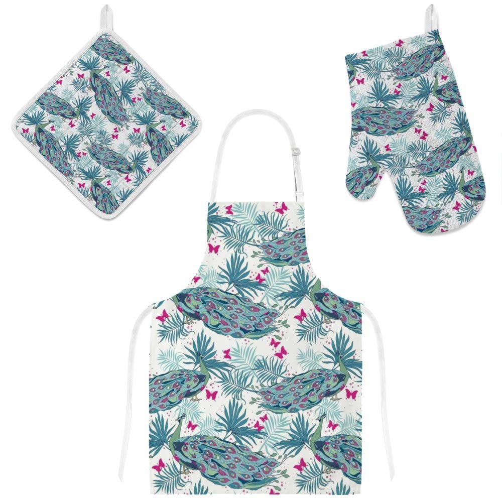 Top Carpenter Polyester Insulation Kitchen Oven Mitts Potholder Apron 3Pcs Set Beautiful Peacocks and Palm Leaves Non Slip Heat Resistant Gloves for Baking Cooking BBQ