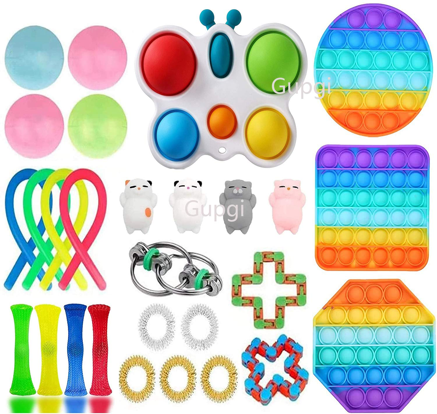 Fidget Toy Set 25 Packs, Cheap Sensory Fidget Toys Pack for Kids or Adults, Figetgets-Toys Pack Figit Toys with Simples-Dimples Fidget Toy, Anxiety Relief Toys Kill Time (Push Its Dimple Toy)