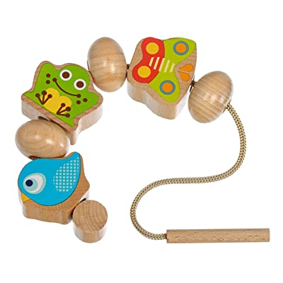 Motor Skills Toys Wooden Lacing Beads for Toddlers and Kids Activity Toy: Toys & Games
