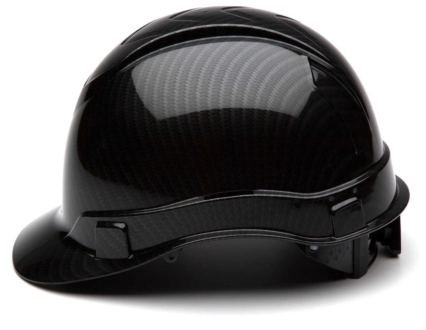 Pyramex Hard Hat Cap with Ratchet Suspension Shiny Black Graphite Pattern