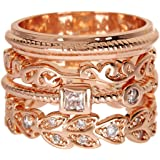 Rose Gold Wholesale Gemstone Jewelry Stackable Ring Set