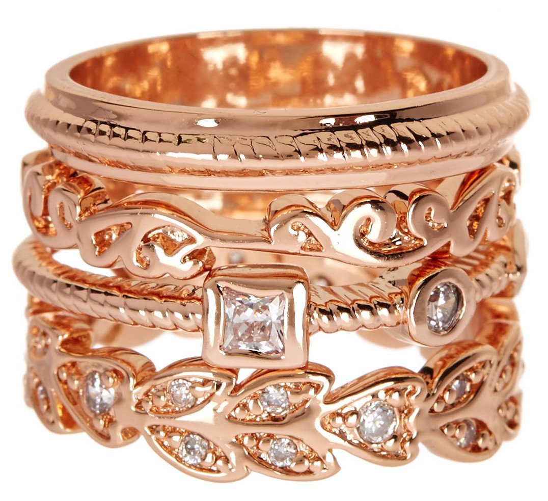 Rose Gold Wholesale Gemstone Jewelry Stackable Ring Set (Size 11)