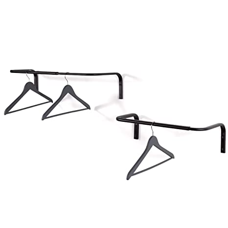 Super Wall Mounted Adjustable Durable Steel Clothes Rack Set Of 2 Drying And Hanging Closet Bar Rail Organizer Black Download Free Architecture Designs Photstoregrimeyleaguecom