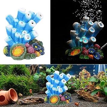 Hemore Adorno de Acuario Coral Decoraciones - Aire Burbuja Coral Parly Shells Oxygen Bomba de Resina Manualidades para Acuario Peces Tank Decor: Amazon.es: ...