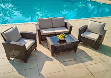 WEATHERPROOF Outdoor Patio 4 Piece Furniture Set, All Weather Wicker: BROWN