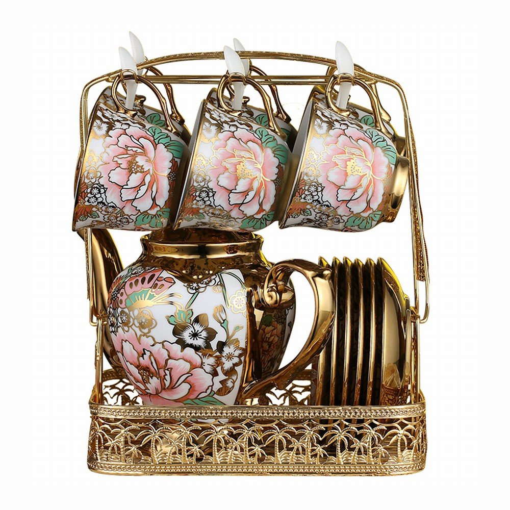 PLLP Coffee Cup Sets Full European Bone Porcelain Cup Saucer Tea Set Cup Household Mug Water Cup,A