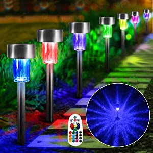 ZUCKEO Remote Control RGB Color Change Pathway Landscape Lights 12V 24V Low Voltage Corded-Electric Stainless Steel Waterproof Outdoor Lights Garden Patio LED Decorative Lighting (8Pack)