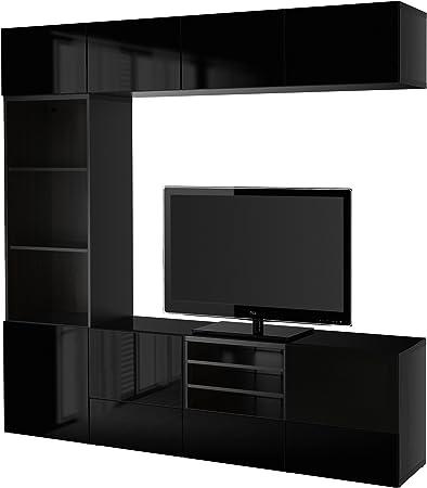 Ikea Besta Stockage Tv Portes Combinaison Verre Noir