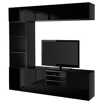 Ikea Besta Tv Combinaison De Rangementportes En Verre Marron