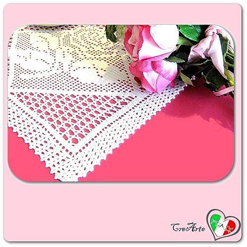 Rechteckig Weiß Häkeln Filet Deckchen Mit Rose Aus Baumwolle Größe