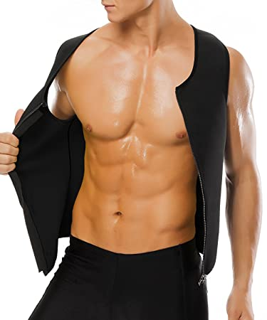 ad25474cf7 Amazon.com   YFMAYI Dad Gifts Mens Body Shapers Vest Slimming Sweat Tummy  Fat Burner Tank Top Workout Shirt for Weight Loss Father s Day Gifts    Sports   ...