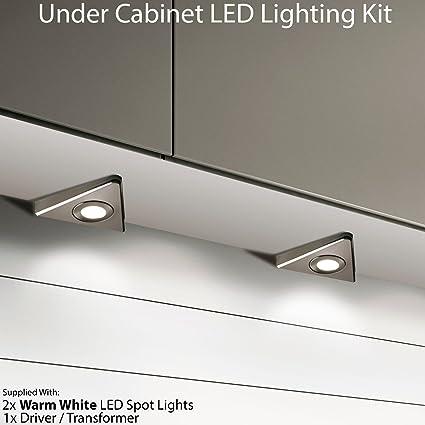 2 x 2.6 W LED armadio da cucina triangolo spot Lighting & driver kit ...