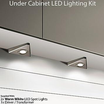 2 x 2.6 W LED armadio da cucina triangolo spot Lighting ...