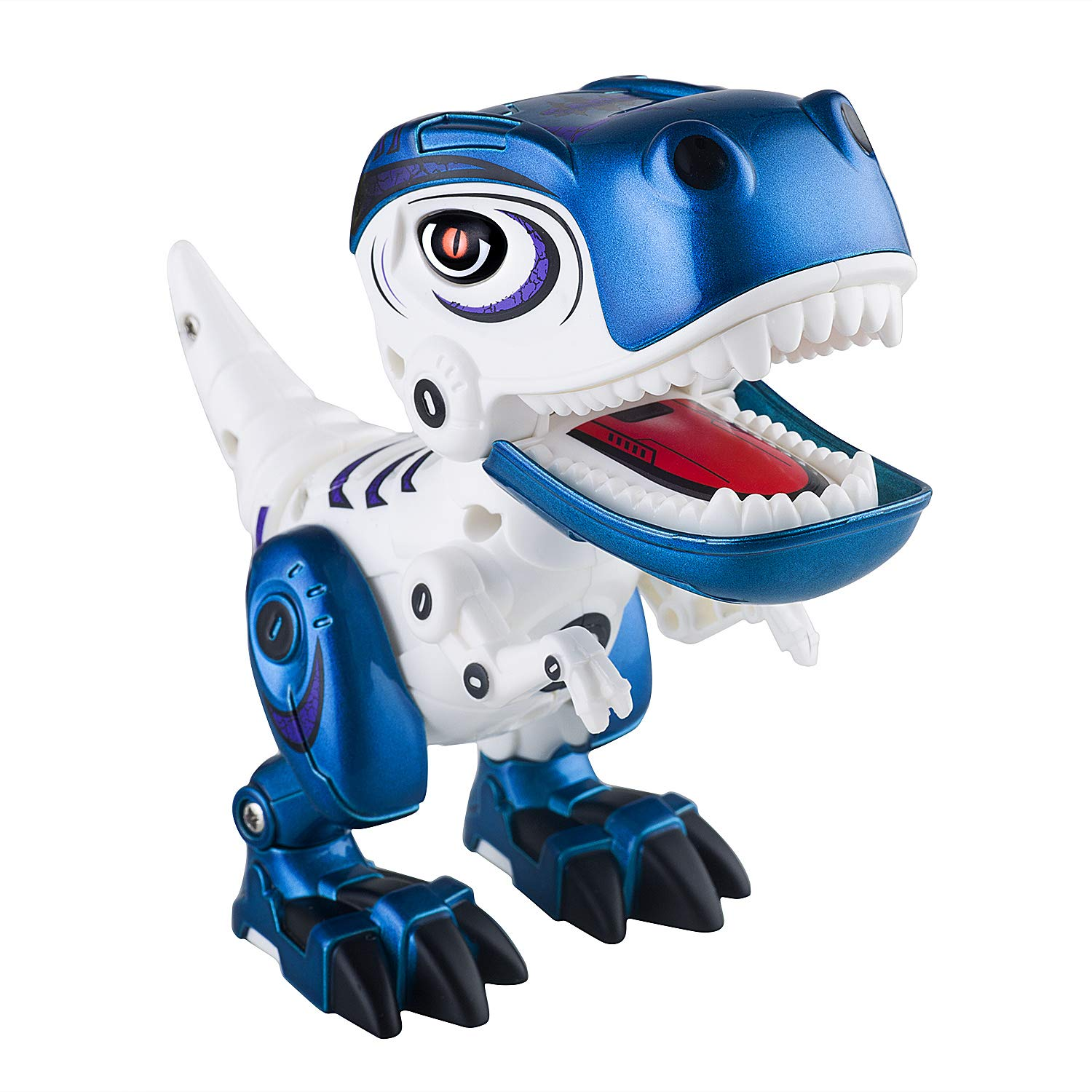 Dolibi Dinosaur Toys for 3 Year Olds Up,Mini Dino Toys Dinosaur Robot,Flexible Body,Sound & Lights (Blue) by Dolibi (Image #3)