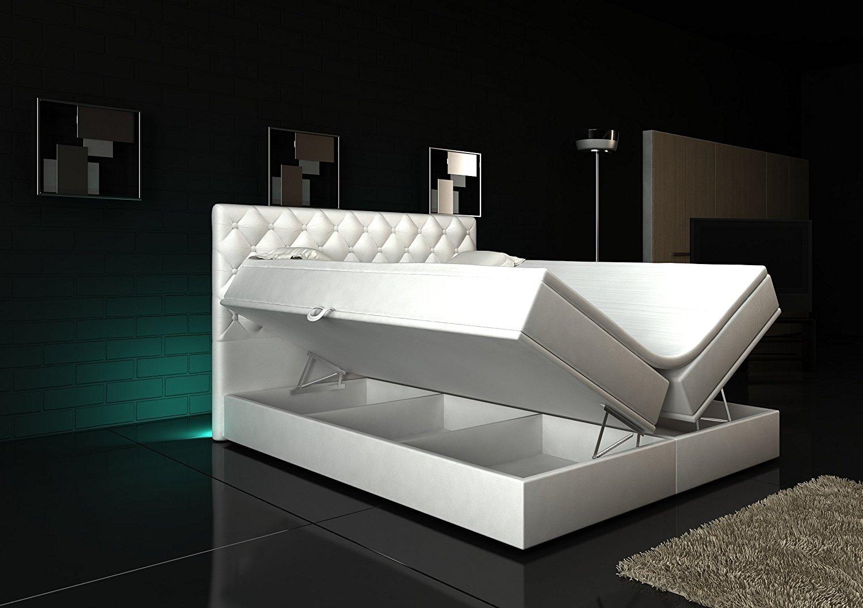 Boxspring bett weiß 160x200  Boxspringbett 160x200 Weiß mit Bettkasten LED Kopflicht Hotelbett ...