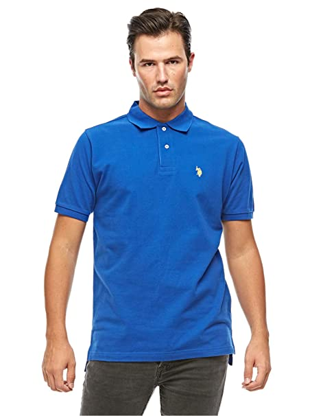 U.S. Polo Assn. Mens Solid Cotton Pique Polo with Small Pony ...