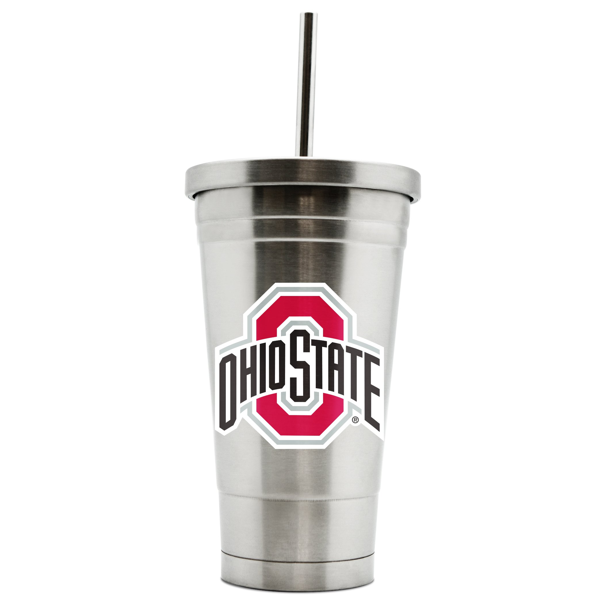 NCAA Ohio State Buckeyes 17oz Double Wall Stainless Steel Thermo Tumbler with Straw by Duck House