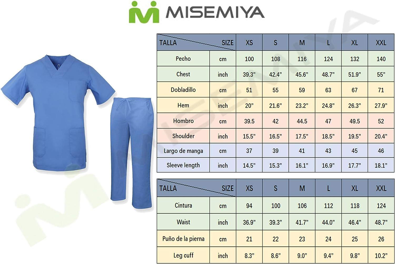 Ref.817Q8 Uniforme M/édical avec Haut et Pantalon Misemiya Ensemble Uniformes Unisexe Blouse