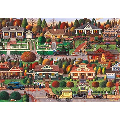 "Charles Wysocki - Labor Day in Bungalowville - 1000 Large Piece Jigsaw PuzzleFinished Size: 29.5"" x 19.7"": Toys & Games"