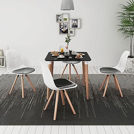 Lingjiushopping 5 Piezas Conjunto Mesa y sillas de Comedor Blanco ...
