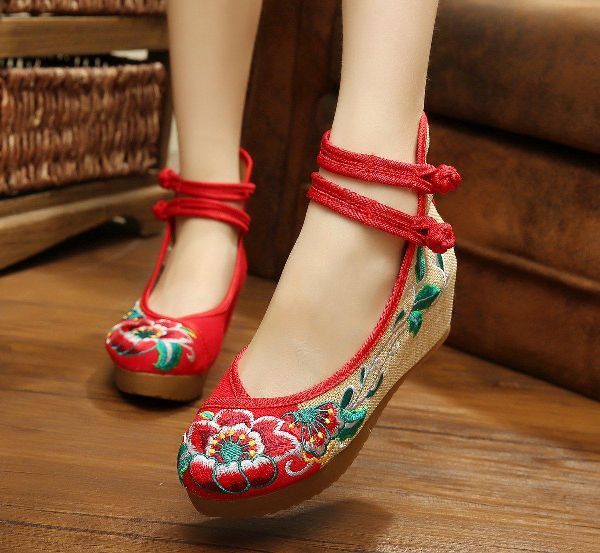 GuiXinWeiHeng xiuhuaxie (new)-Gestickte Schuhe, Leinen, Sehnensohle, ethnischer Stil, erh?hte weibliche Schuhe, Mode, bequem, l?ssig, red, 36