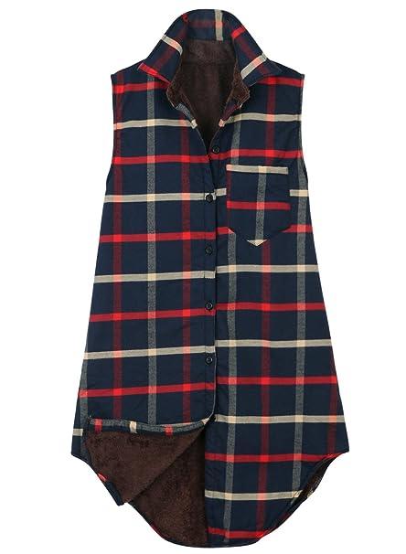 ililily Women Checkered Longline Sherpa Lined Flannel Shirt Vest Trucker Jacket , Indigo Plaid,Medium