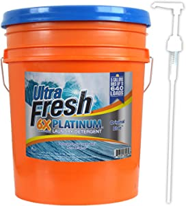 Ultra Fresh Platinum Original Blue HE Liquid Laundry Detergent, HE Concentrated 5 Gallons (640 oz)