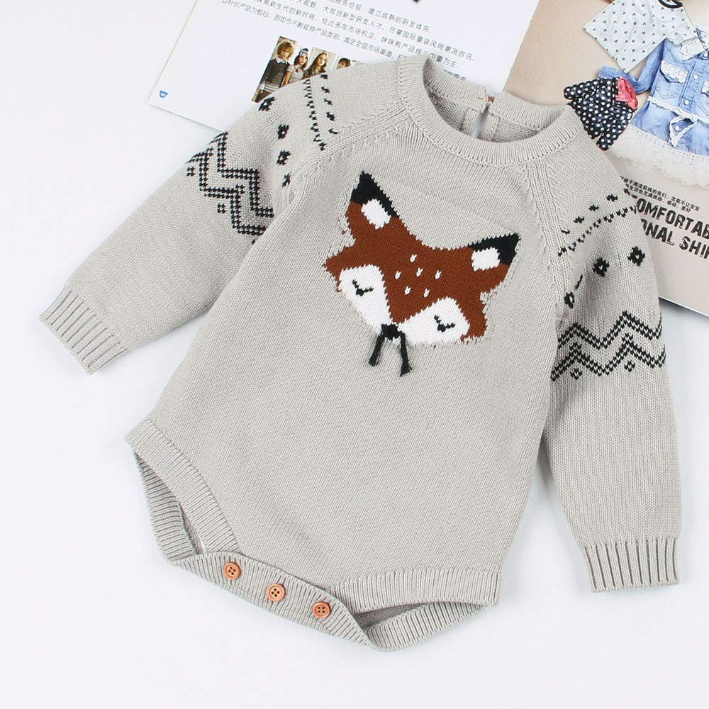 Infant Baby Toddler Girls Fall Winter Clothes Knitted Sweater 6-24 Months Long Sleeve Fox Romper Jumpsuit Outfits