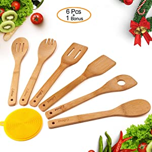 Wooden Spatula Bamboo Utensil Set 6 Pieces Premium Wooden Cooking Spoon Kitchen Cooking Tools for Nonstick Pots and Pans Cookware (Turner Spatula Mixing Forked and Slotted Spoon)