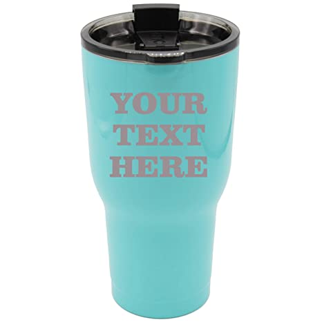 Engraved Custom Rtic Cup Tumbler Personalized 30 Oz Powder Coated Cups With Double Walled Vacuum Sealed Any Text Teal Blue