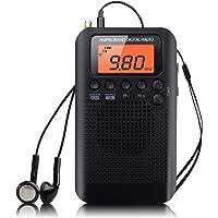 Mini Radio de Poche Personnel Radio Portable AM/FM Haut-Parleur avec Son Clair Mini Récepteur numérique Tuning Réveil et Minuterie avec écouteur