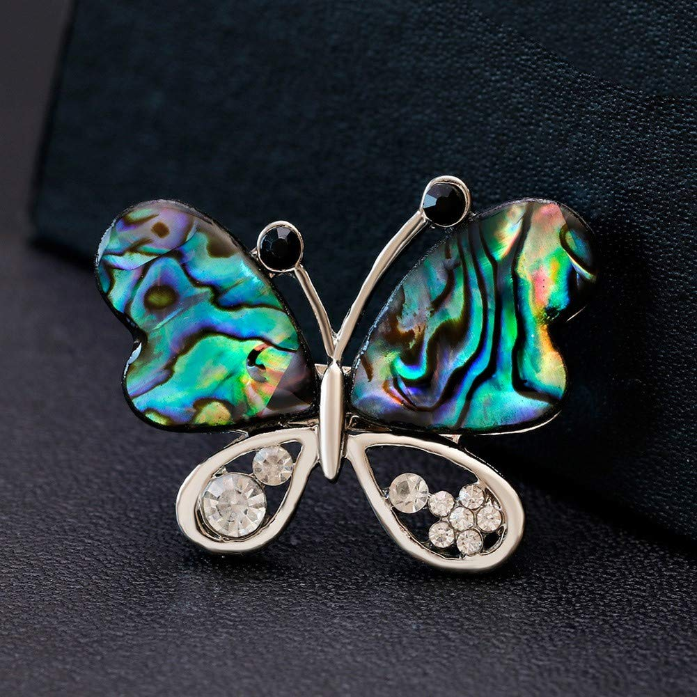 DDLKK Butterfly Shell Series Alloy Brooches Alloy Plating Insect Jewelry Brooches and Pins for Women Brooches for Women Brooches for Clothing Diamond Rhinestones Silver Plating