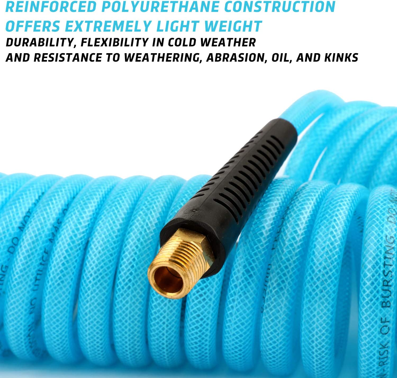 Taisher 50FT x OD 8mm PU Air Hose 145 PSI Blue Air Compressor Hose ID 5mm PU Polyurethane Air Compressor Tubing Hose Pipe