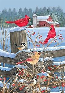 "Briarwood Lane Birds of Winter Cardinals Garden Flag Snowy Fencepost 12.5"" x 18"""